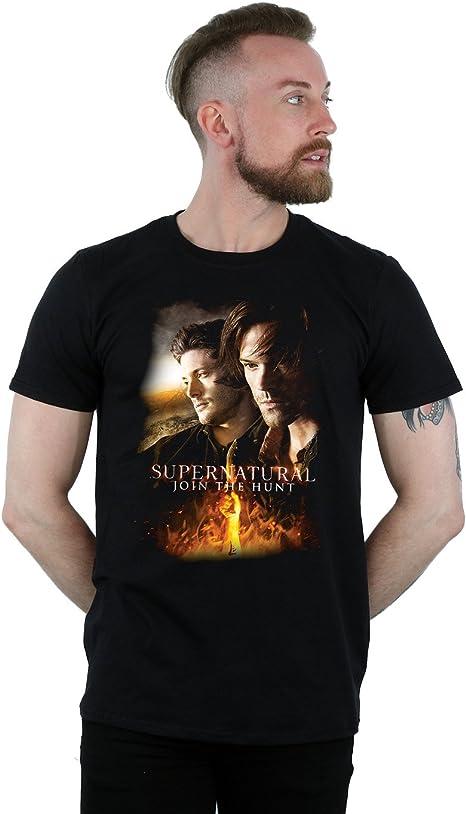 Supernatural Hombre Flaming Poster Camiseta XX-Large Negro: Amazon.es: Ropa y accesorios