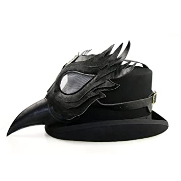 Sharplace Máscara Médico de la Peste Negra Disfraz Cosplay Plague Doctor Schnabel - Negro