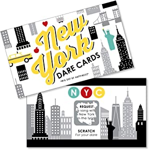 Big Dot of Happiness NYC Cityscape - New York City Party Game Scratch Off Dare Cards - 22 Count
