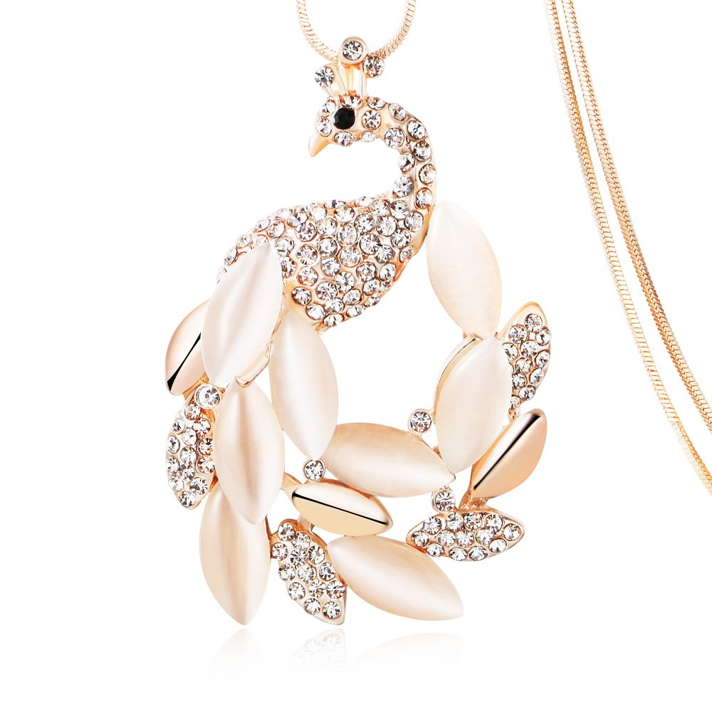 Amphitrite Gold Long Peacock Statement Pendant Necklace with Rhinestone Crystal, Love Gifts for Women Girls