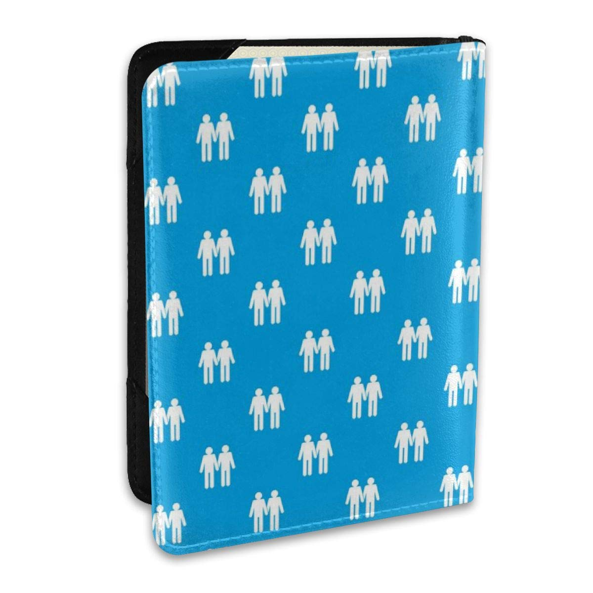 Biahos Leather Passport Cover Two Man Gay Pattern Wallet For Passport Case