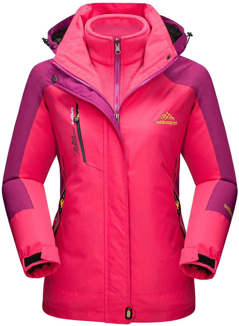 TACVASEN Veste Outdoor 3 en 1 Femme Polaire Imperm/éable Manteau de Snowboard de Ski en Plein air