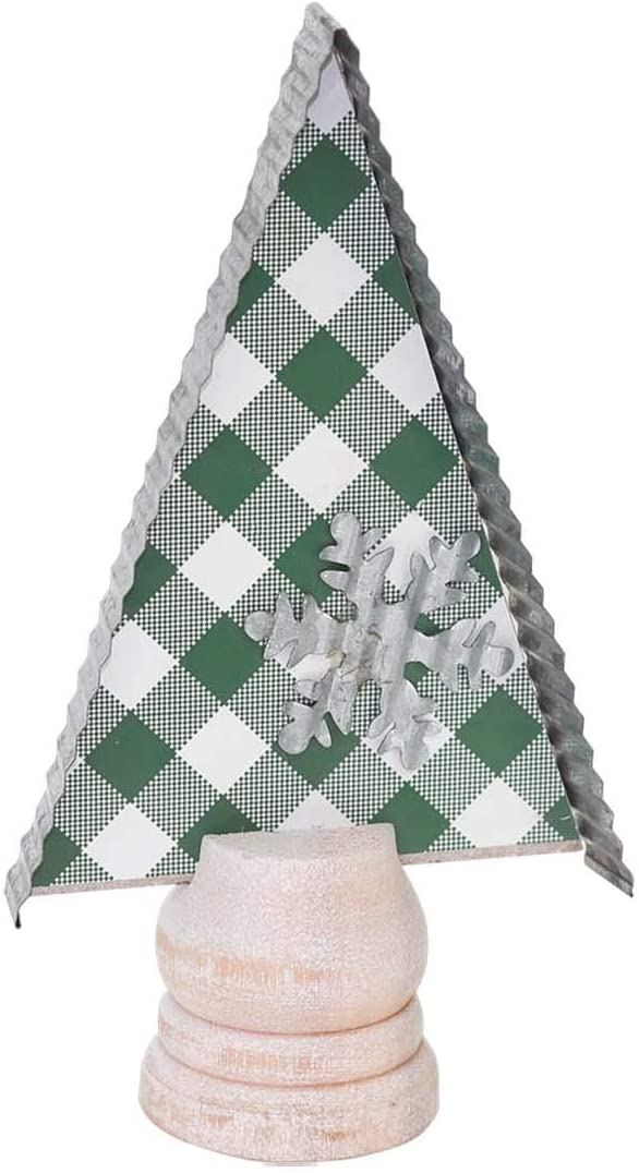 "7.25"" H Farmhouse Christmas Tree Shape Tabletop Decor, Corrugated Galvanized Metal Edge, Metal Snowflake, Whitewashed Wood Base, Plaid Background,Farmhouse Christmas Decor - Green"