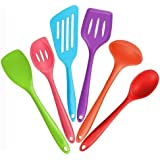 Bessmate 6Pcs High Quality Heat Resistant Multicolor Silicone Kitchen Utensils Including 2 Turners,2 Spoons, 1 Spatula & 1 Ladle with Lifetime Guarantee