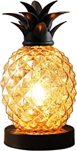 Mercury Glass Pineapple Lamp, Silver Glass Table Lamp for Bedroom, Dresser, Living Room, Kids Room, Coffee Table, Office, Bookstore, Festival Decor and Gift (Silver)