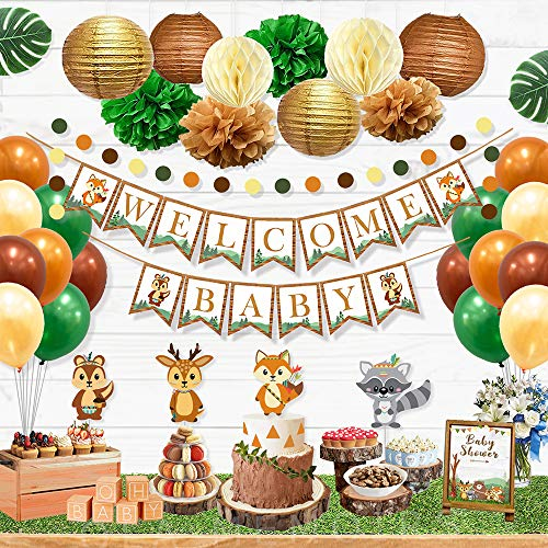Gender Neutral Baby Shower Party Decorations (Ola Memoirs Woodland Animals Baby Shower Decorations for Boy or Girl, Gender Neutral Party Supplies Kit- Welcome Baby Banner, Forest Creatures Cut Out, Woodland Balloons, Pompoms, Leaves,)