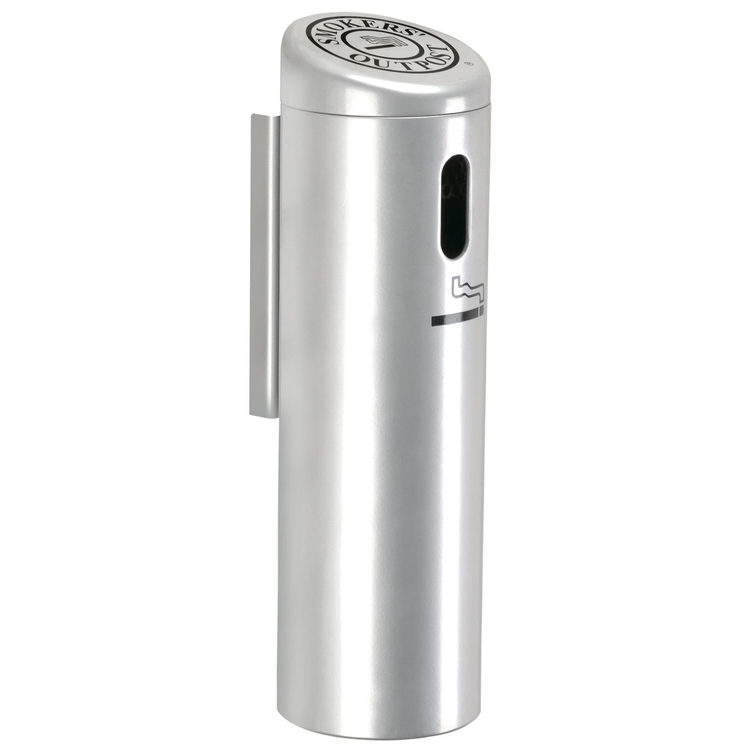 Silver Cigarette Receptacle, Smoke Post, Cigarette Collector, Ash Tray, Extinguisher, Wall Mounted