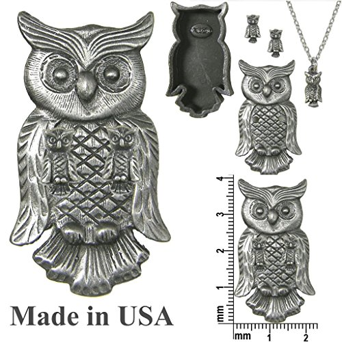 cheap Pewter Owl Jewelry Box Pin, Earrings & Necklace Combo103034 free shipping