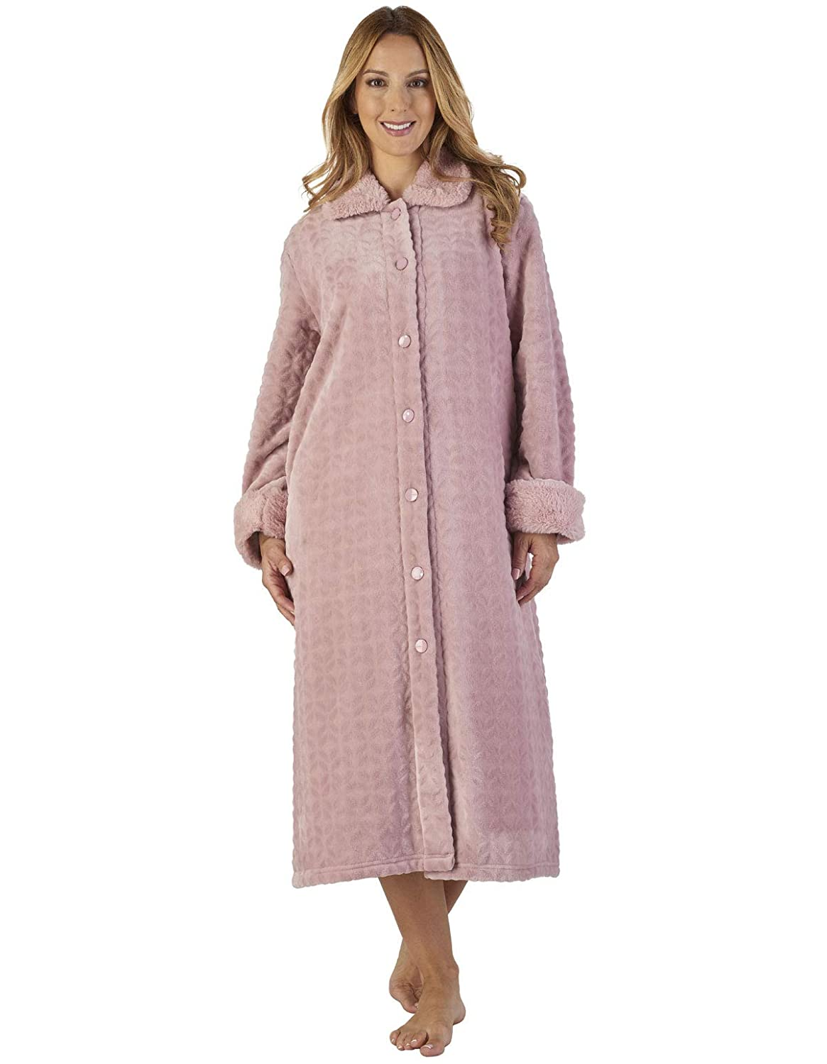 TALLA L. Slenderella HC2341 Women's Faux Collar Robe Loungewear Bath Dressing Gown
