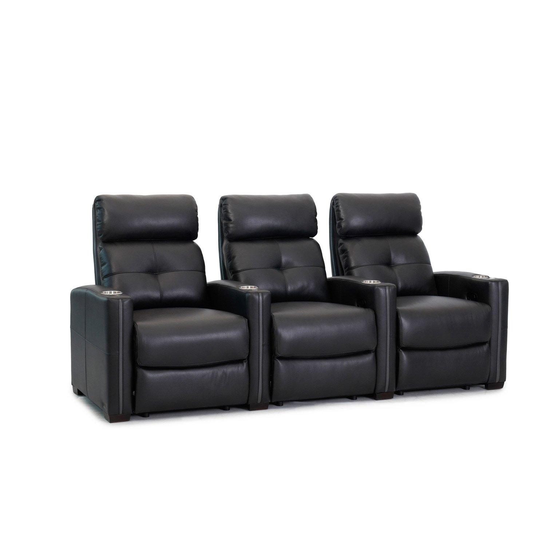 Octane Seating Cloud XS850   Fila de 3 Poltronas   Cuero Negro Enriquecido   Porta bebidas Removibles de Metal Plateado   Reposapiés de Sillón   Soporte ...