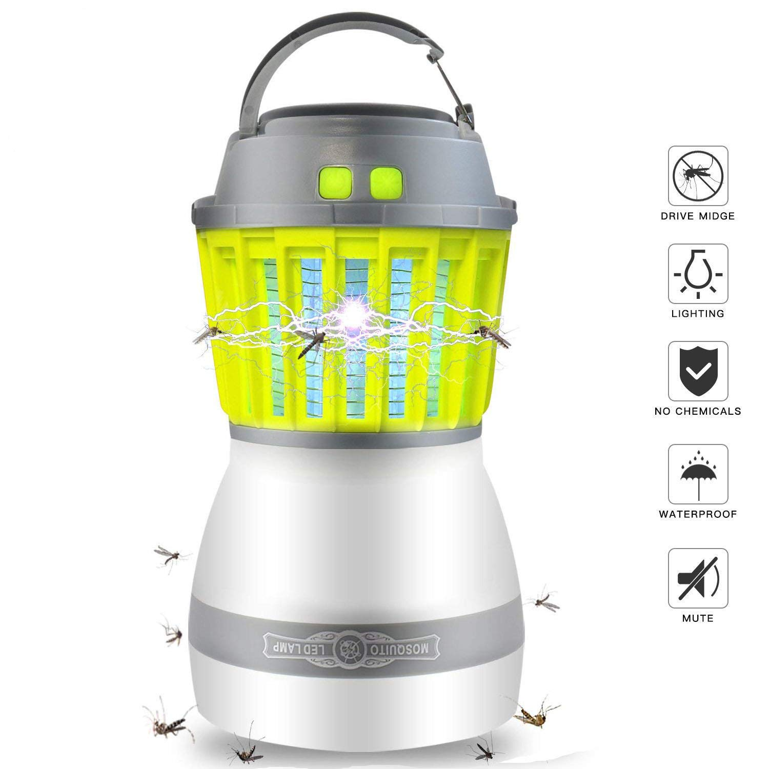 Bug Zapper & Camping Lantern 2 in 1, Electric Mosquito Trap Killer with LED Light, IP67 Waterproof Rechargable Via USB - Cordless Portable Camping Accessories for The Indoor & Outdoor by FamFun