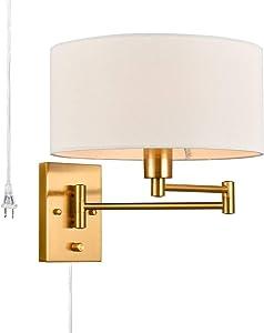 Modern Farmhouse Plug in Wall Light Swing Arm Wall Lamps Fabric Shade, Brass Finish