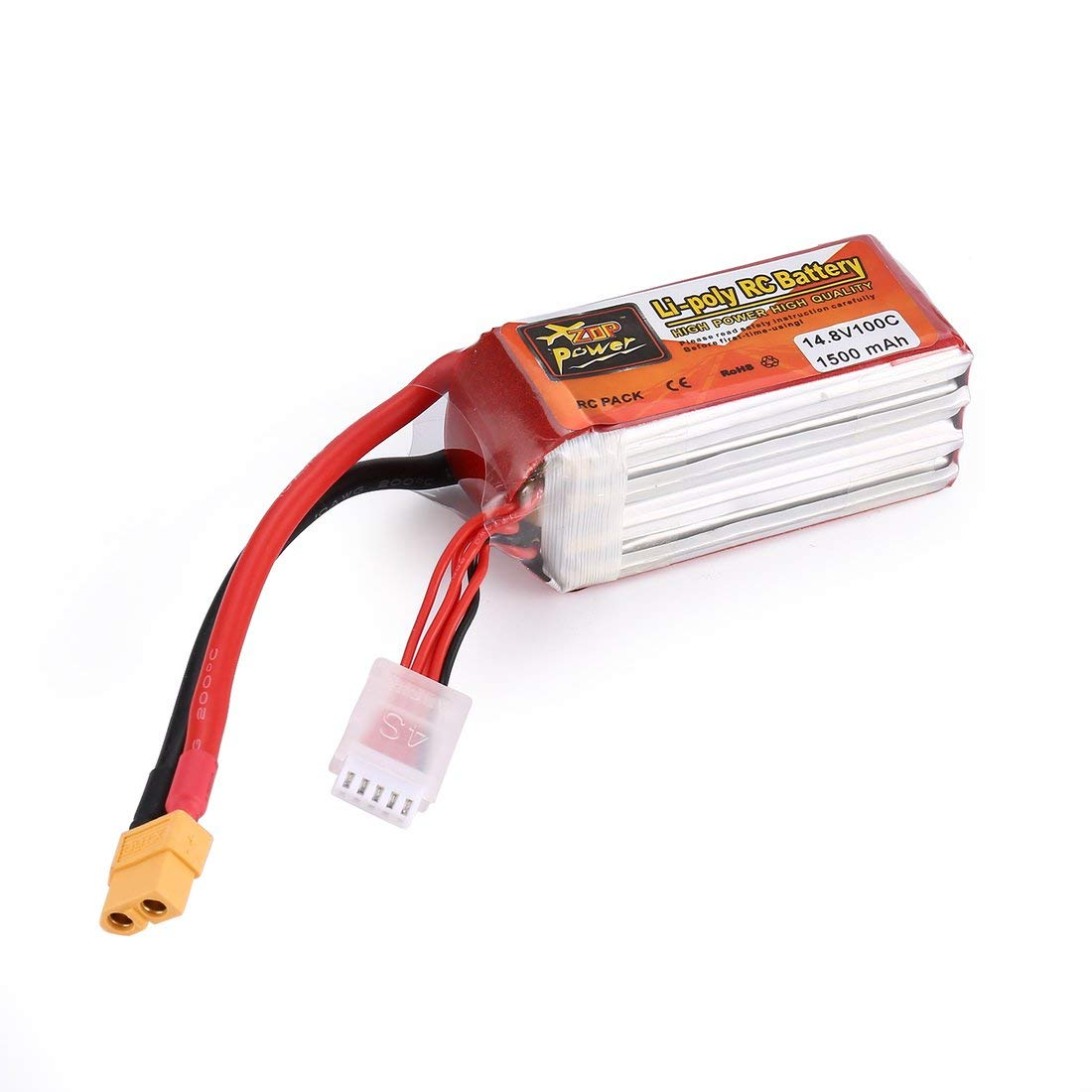 ZOP Power 14.8V 1500mAh 100C 4S 1P Lipo Battery XT60 Plug Rechargeable for RC Racing Drone Helicopter Car Boat Model - Red&Silver Formulaone