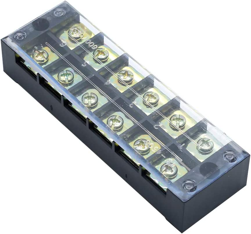 PHITUODA 3pcs 6 Positions Dual Rows Wire Barrier Block Terminal Strip with Phillips Screwdriver TB-4506,600V 45A