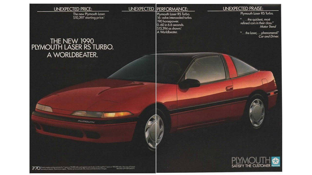 Magazine Print Ad: Red 1990 Plymouth Laser RS Turbo, 2 pages,