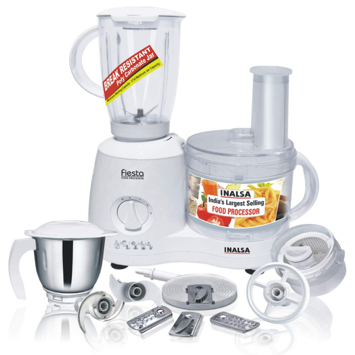 Inalsa Food Processor Fiesta 650-Watt with Break Resistant Processing Bowl Blender or Food Processor