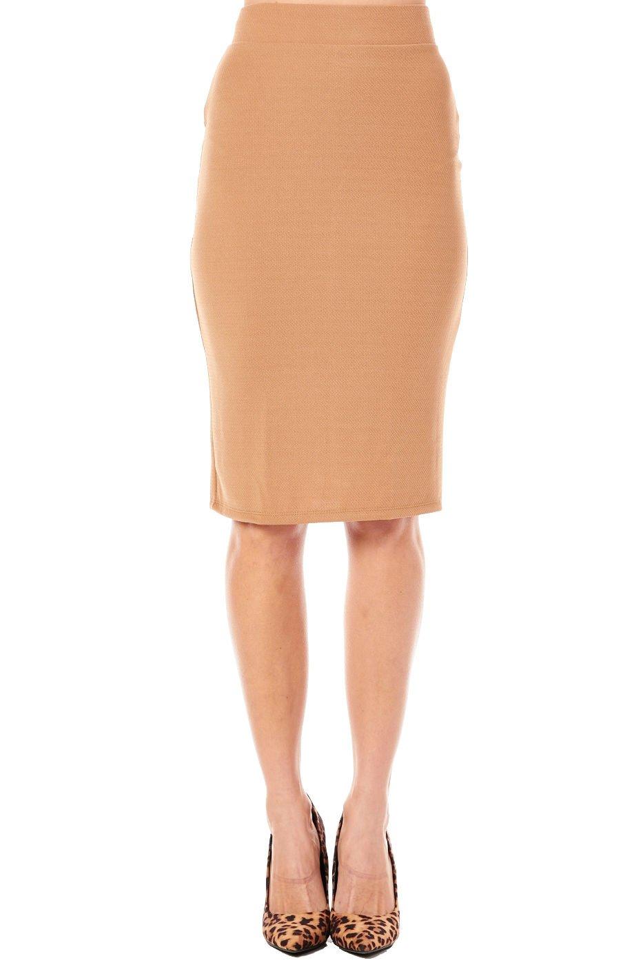 Womens High-Waist Straight Style Lady Pencil Skirt 1160K (L, Mocha)