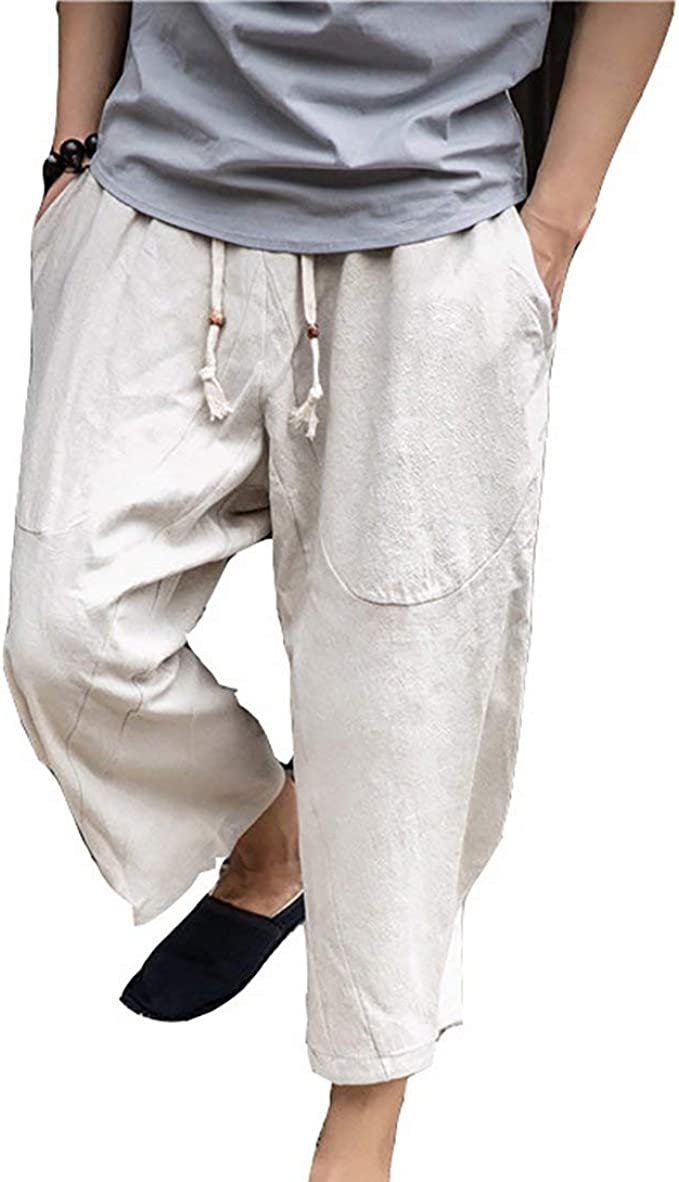Herren Sommer Casual Baumwolle Leinen Elasticated Loose Drawstring Yoga Hosen