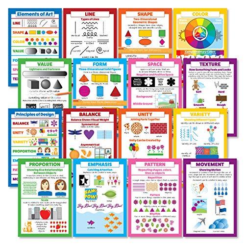 Elements of Art & Principles of Design 16 Poster Set (Paper, 13 x 19) (Elements Of Art And Principles Of Art)