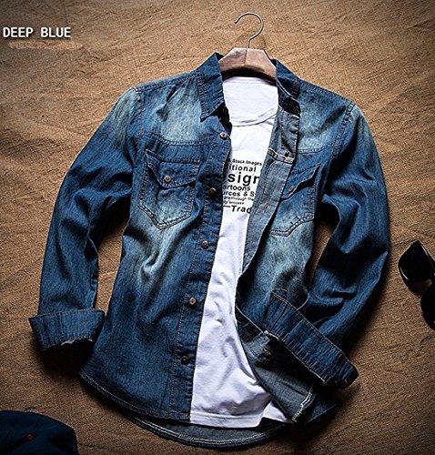 デニムシャツ メンズ ゴルフ ポロシャツ 長袖 ゴルフウェア 長袖Tシャツ シャツ 長袖ポロシャツ アウトレット ウェア Tシャツ トップス ライトブルー ダークブルー 4色 ノーブランド