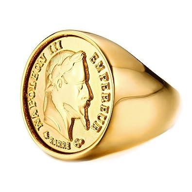 1cb7b1ac4326 BOBIJOO Jewelry - Anillo Anillo de Oro Anillo de Oro Masiva Ronda de la  Moneda de