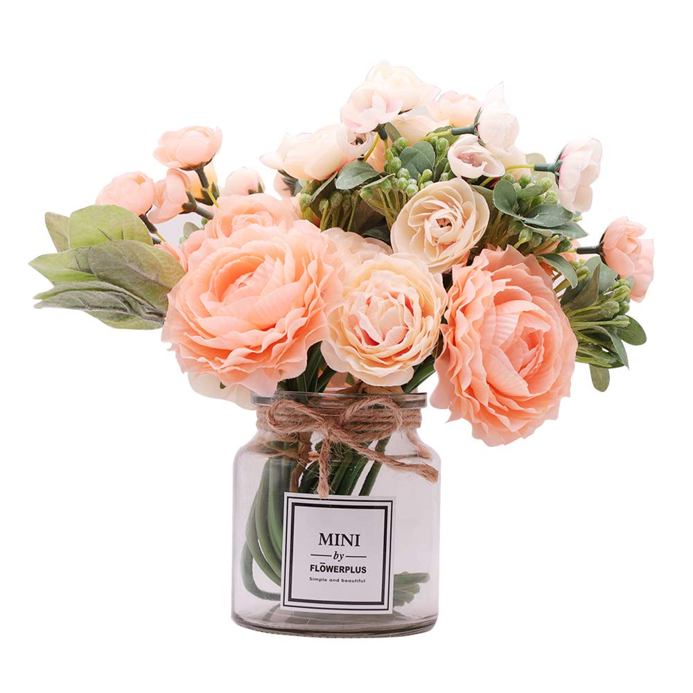 Missblue 造花ローズフラワー 花瓶付き フェイクシルクピンクブーケ ガラス瓶付き ホームロープ 結婚式 プロポーズ 花嫁 ホームデコレーション ギフトに最適 B07L566QDR ピーチ