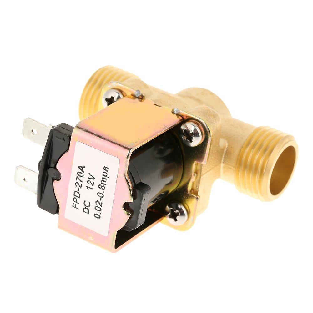 V/álvula Solenoide El/éctrica Electrov/álvula El/éctrica de Lat/ón Normalmente Cerrada de 1//2DC 12V para Control de Agua Hecha de Lat/ón Fundido Precisa y Confiable.