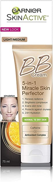 Garnier BB Cream SkinActive Miracle Skin Perfector for Normal to Dry Skin. Light/Medium, 75 mL