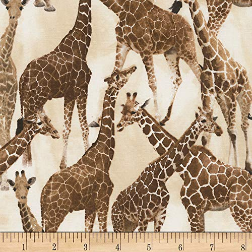 Timeless Treasures Safari Giraffe Tan Fabric by The ()