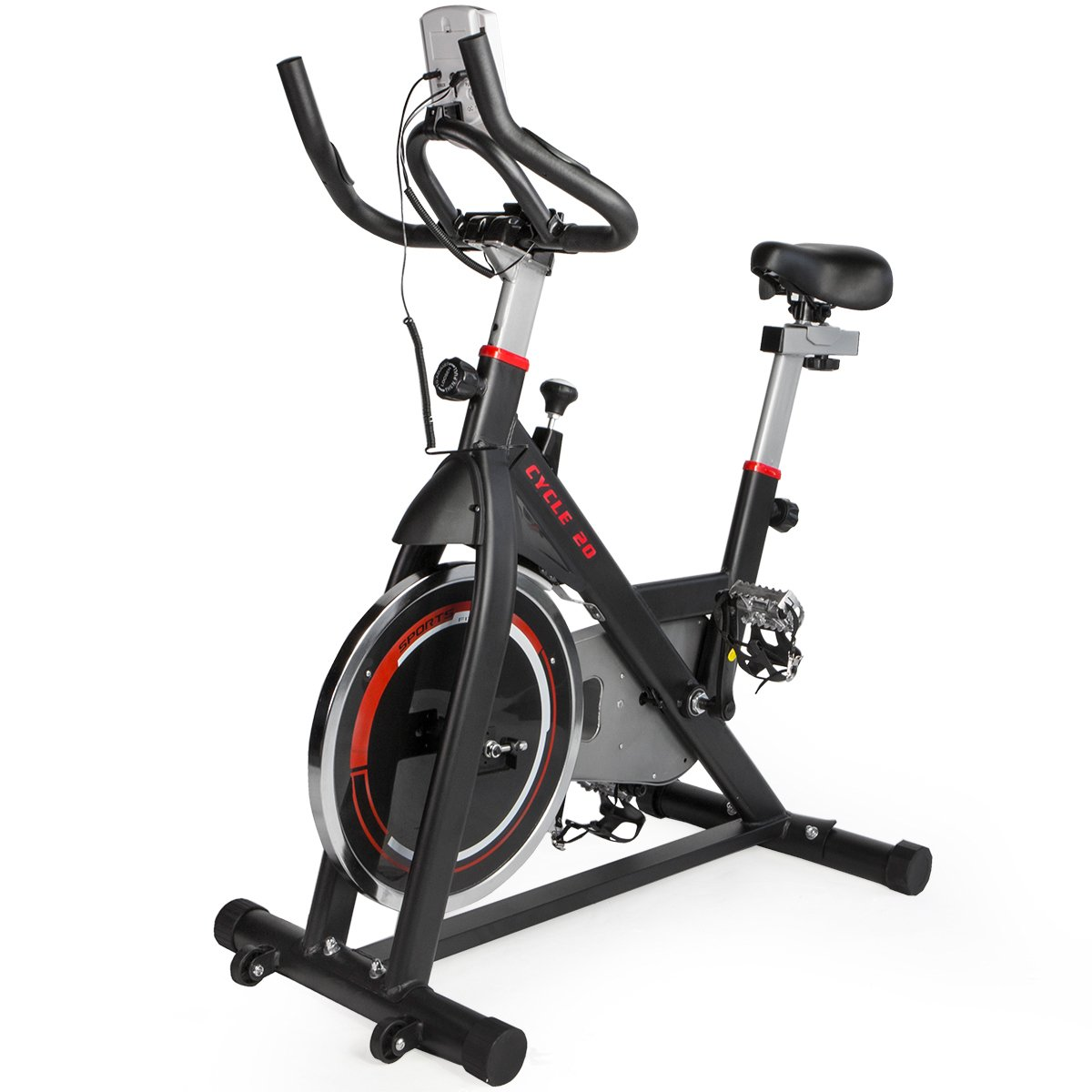 XtremepowerUS Cycle 20 Exercise Bike Stationary Cushion Indoor Cycling Bicycle Heart Pulse Adjustable w/ 20lbs Chrome Flywheel, Black/Red