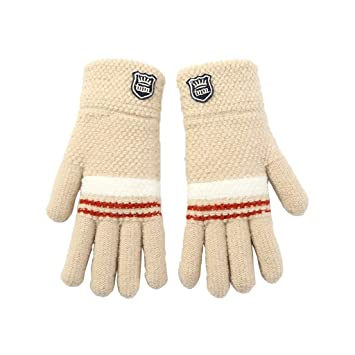 Khaki Thicken Winter Gloves for Kids Children Boy 678910 years