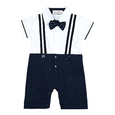 a0fb5414d7030 YiZYiF Baby Boys Short Sleeves Bowtie Gentleman Romper Jumpsuit ...