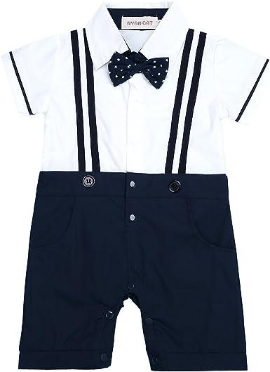 IEFIEL Traje de Fiesta Boda Bautizo para Bebe Niño Pelele con Pantalones Tirante Mono Camisa Manga Corta Algodón de para Nacién Nacido (9-24 Meses) Azul Oscuro y Blanco 9-12 Meses: Amazon.es: Ropa
