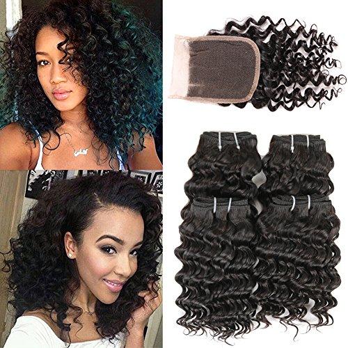 Brazilian Deep Curly Hair Bundles with Closure 8 Inch Brazilian Short Deep Wave Hair with 3 Part Lace Closure 100% Human Hair with 4×4 Lace Closure (8 8 8 8 + 8,Three Part Closure)