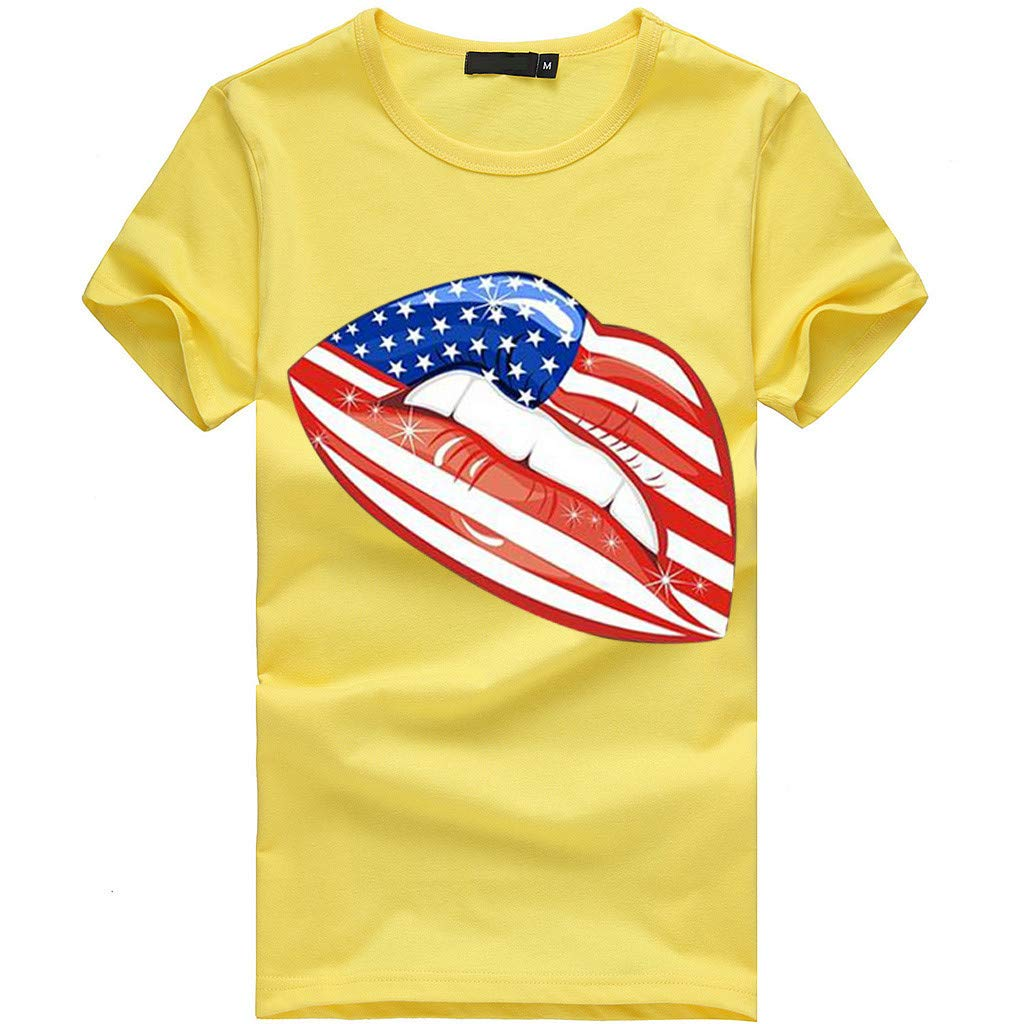 AKwell Womens Short Sleeve Large Size Clover Independence Day Print Patriotic Striped Top Victory Print Comfort T-Shirt