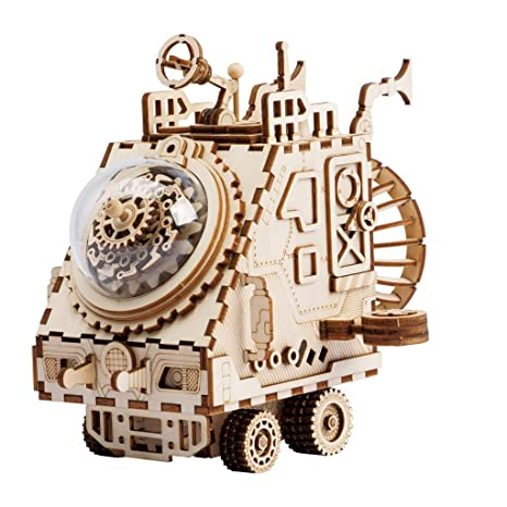 GAX Robot Bricolaje música Caja Herramienta y inglés enseñanza Nave Espacial Madera Montaje Juguete Creativo Regalo