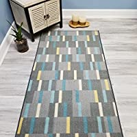 Choose Your Size GREY GINGHAM Non-Slip Rubber Backed Hallway Carpet Runner Rug   31-inch x 18-feet