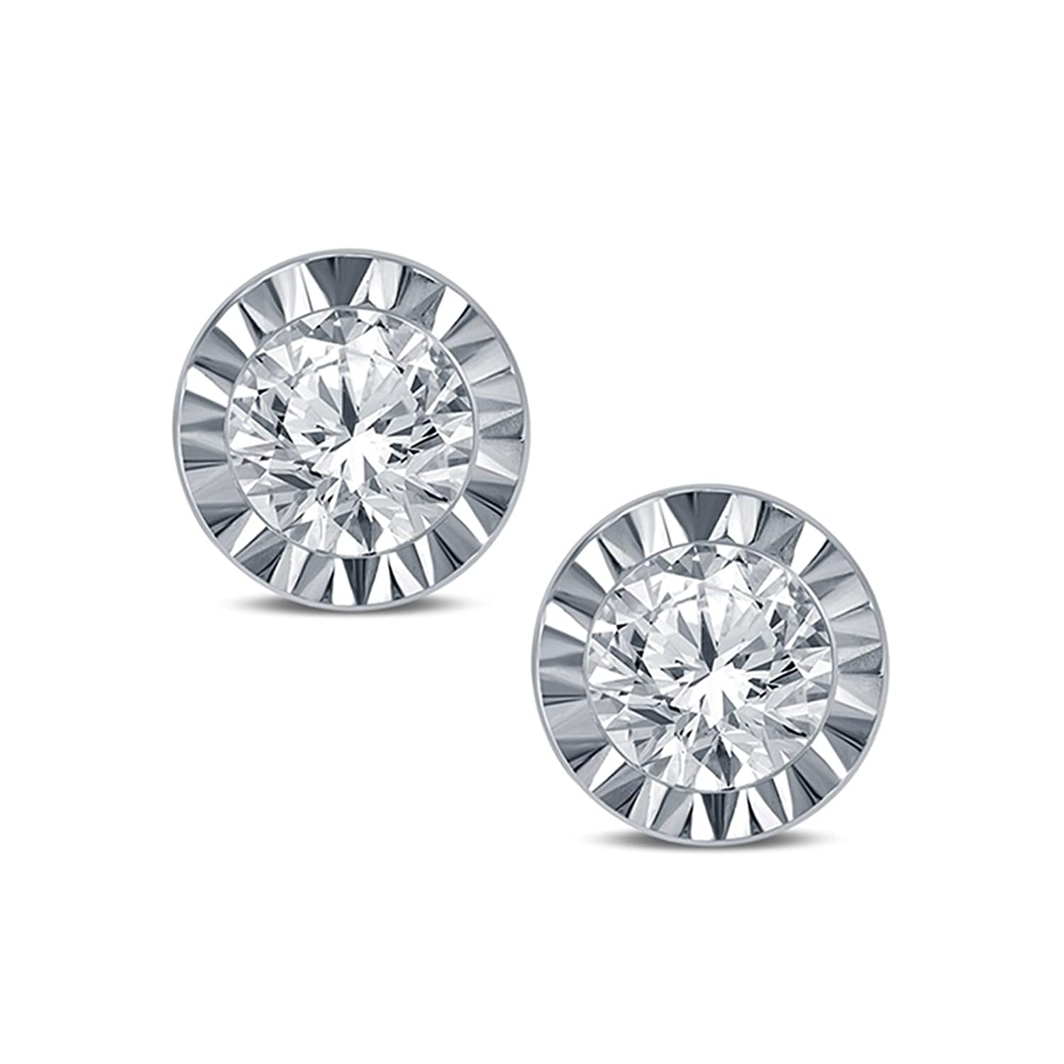 1/10 CT TW EGL Certified Miracle Round Diamond Solitaire Earring in 10K White Gold