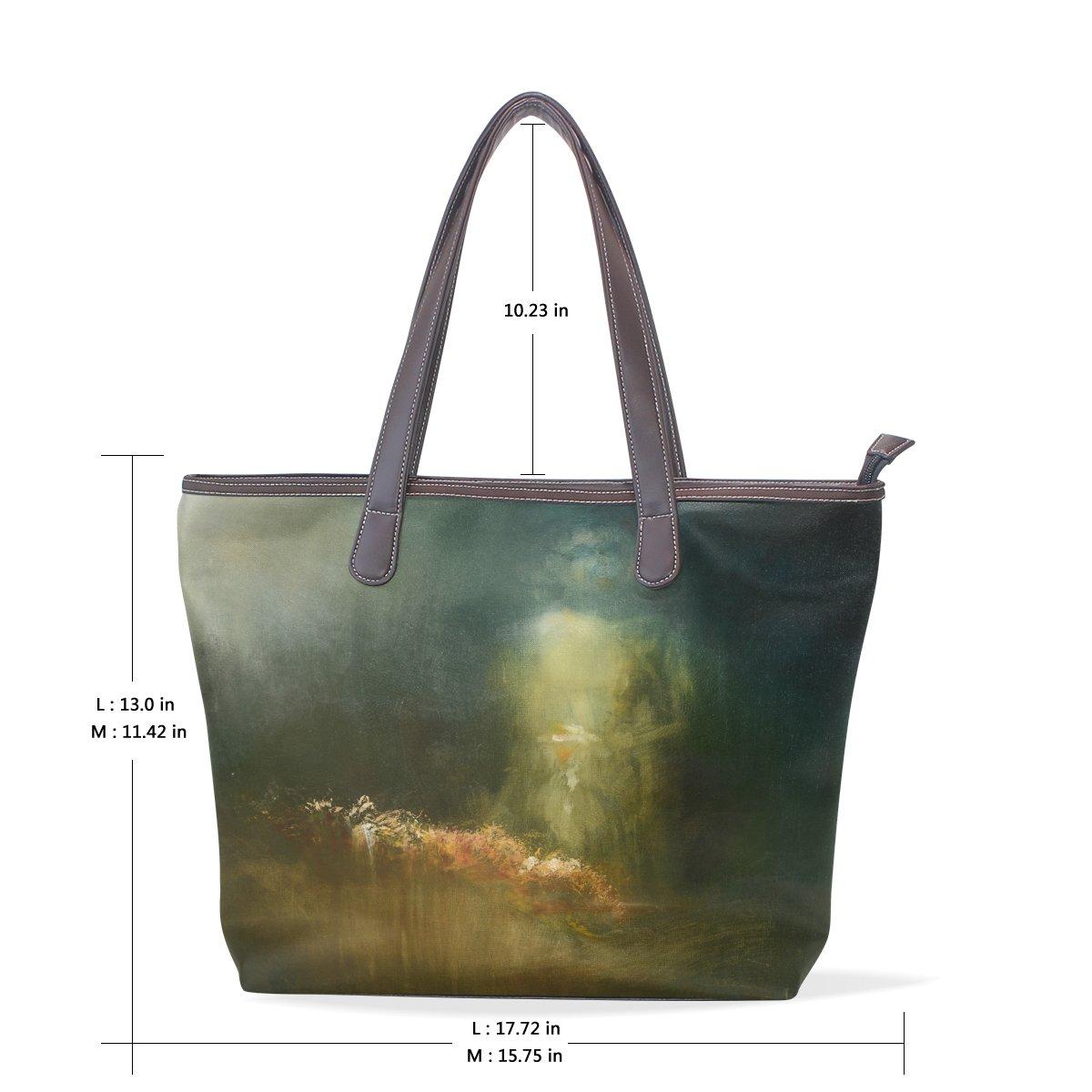 Ye Store Abstract Watercolor Lady PU Leather Handbag Tote Bag Shoulder Bag Shopping Bag