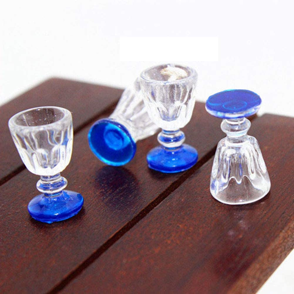 rycnet 4 Pcs Lovely Miniature Wine Glass 1:6 1:12 Simulation Model Dollhouse Accessory