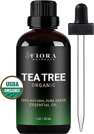 Tea Tree Essential Oil by Fiora Naturals- 100% Pure Organic Tea Tree Oil, Antifungal and Antiseptic for Face, Hair, Skin, Acne, Scalp, Foot and Toenail Fungus. Pure Melaleuca Alternifolia, 1 oz /30ml