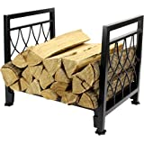 Fireplace Log Holder Wrought Iron Indoor Fire Wood Rack, Heavy Duty Steel Outdoor Firewood Wood Carrier Storage Rack for Fireplace Hearth Decoration
