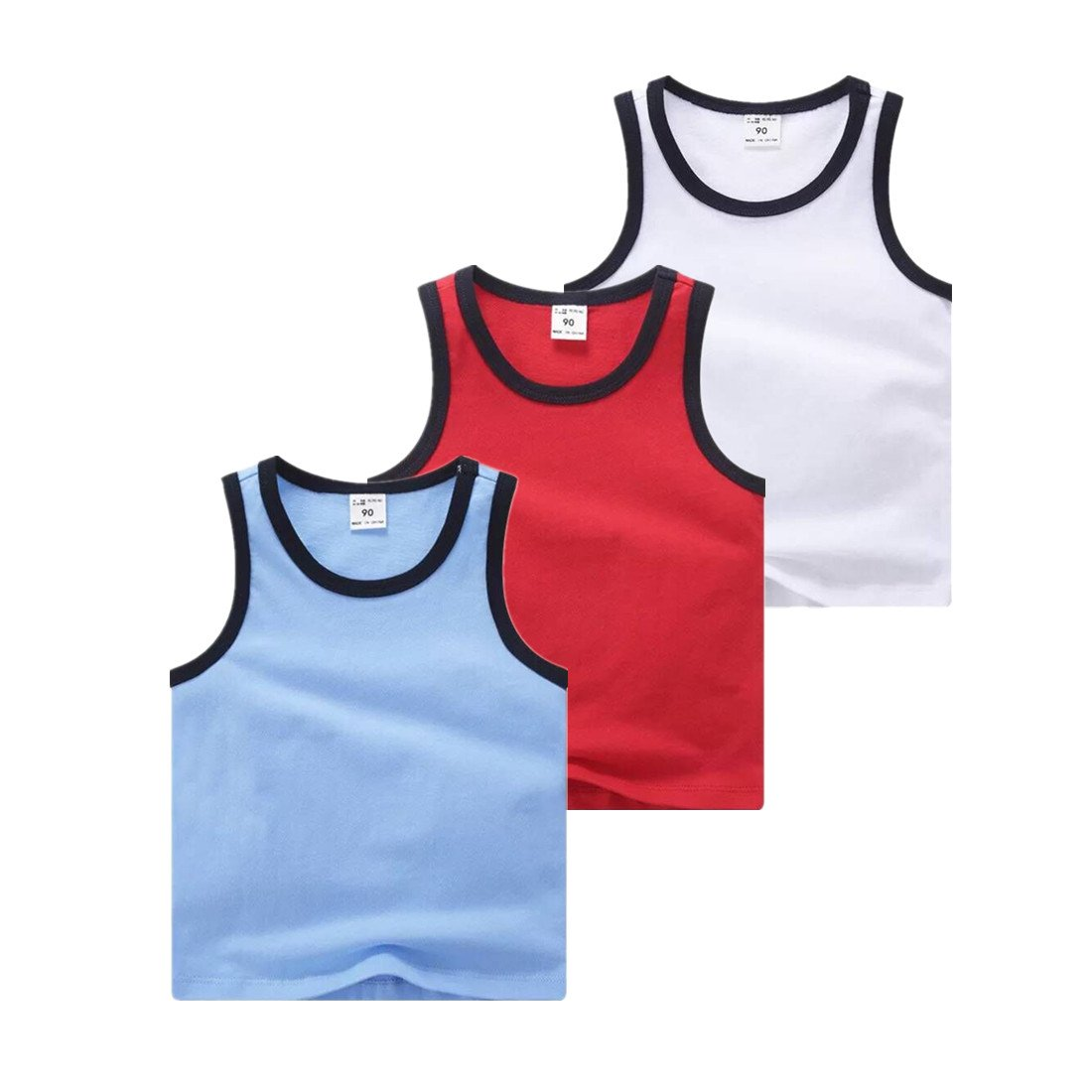 Sooxiwood Little Boys Tank Tops Solid Vest Summer Size 5 Style-1