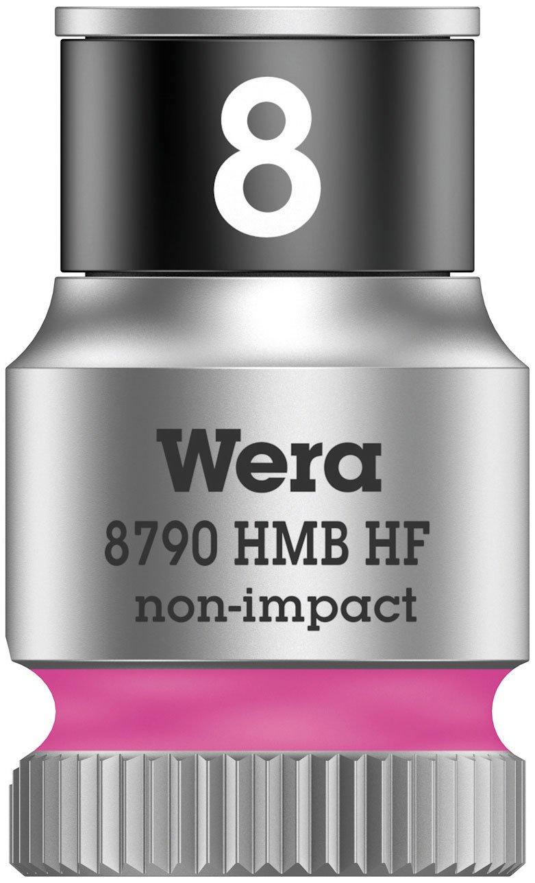 Wera 8790 HMB Holding Function Zyklop Socket, 3/8' Drive, 8 x 29 mm, 05003742001, Bright Pink, 8 3/8 Drive