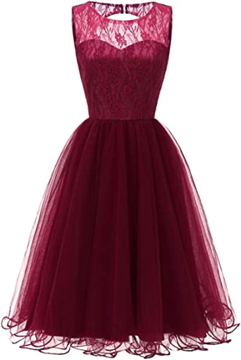 Mmondschein Womens Cocktail A Line Sleeveless Lace Prom Evening Party Swing Dress