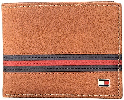 Buffalo Bills Credit Card - Tommy Hilfiger  Men's  Leather Passcase Wallet with Removable Card Holder,Yale Tan
