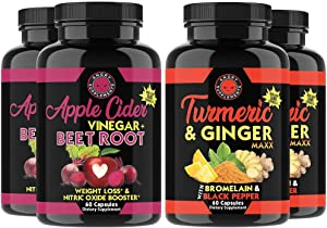 Apple Cider Vinegar + Beetroot and Turmeric & Ginger Capsules (4-Pack Bundle) by Angry Supplements, All-Natural Weight Loss Detox Remedy, Nitric Oxide Booster, Boost Metabolism + Energy (240 Count)