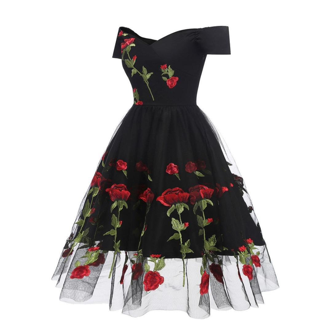 5f6783771e Fashion Embroidery Cocktail Dresses Women s Vintage Princess Dress Retro  Rose Floral Ruched Off Shoulder Party Dress at Amazon Women s Clothing  store