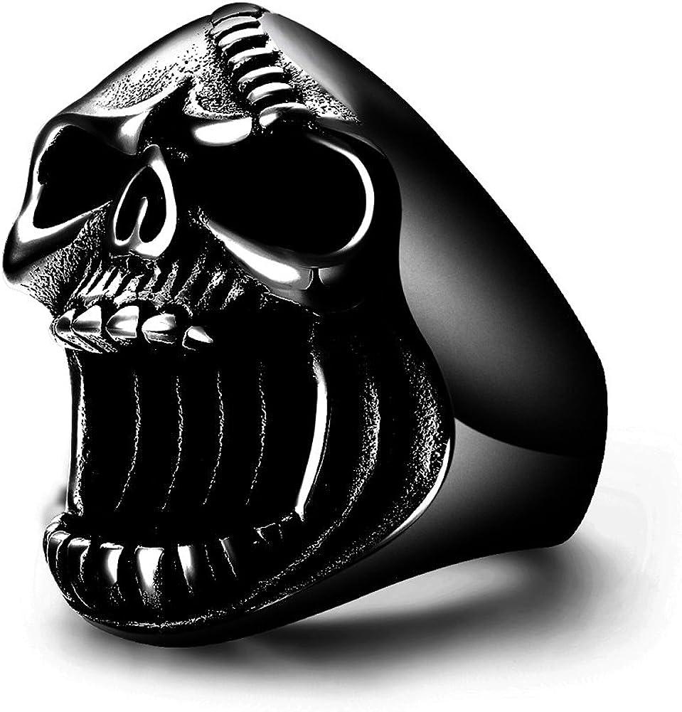 LAOYOU Black Skull Rings Gothic Biker Punk Surgical Stainless Steel Mens Ring Beer Bottle Opener for Men