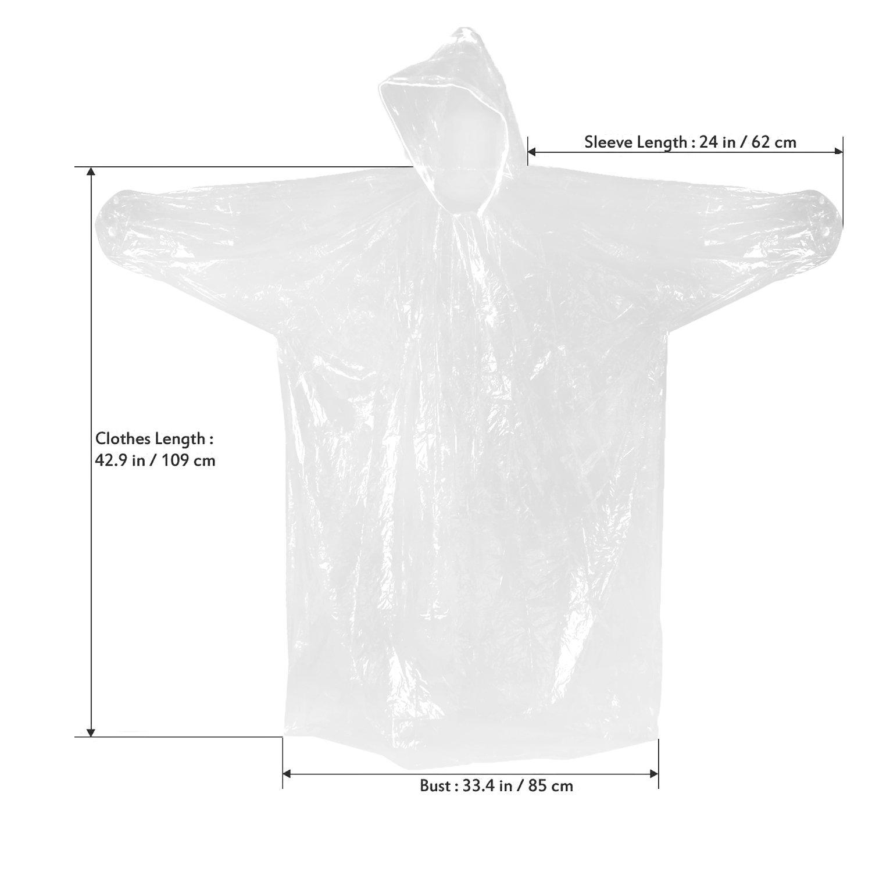 Mture Ponchos, Pluie Imperméables Emergency Poncho pour Camping Randonnée Cyclisme Activité en Plein Air Transparent